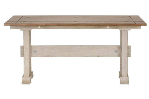 Aberdeen Distressed White Flip Lid Sofa Table With Pedestal Base And Chesnut Top