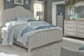 "Aberdeen Queen Or King Antique White Panel Bed ""Create Your Own Bedroom"" Collection"