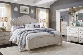 "Aberdeen Queen Or King Antique White Low Poster Bed ""Create Your Own Bedroom"" Collection"