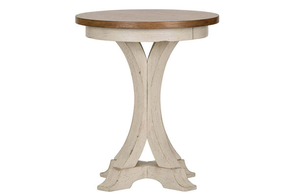 Aberdeen Distressed White Round Pedestal Base Chair Side Table With Chesnut Top