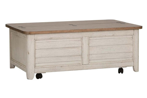 Aberdeen Distressed Antique White Cedar Lined Storage Coffee Table With Chestnut Top