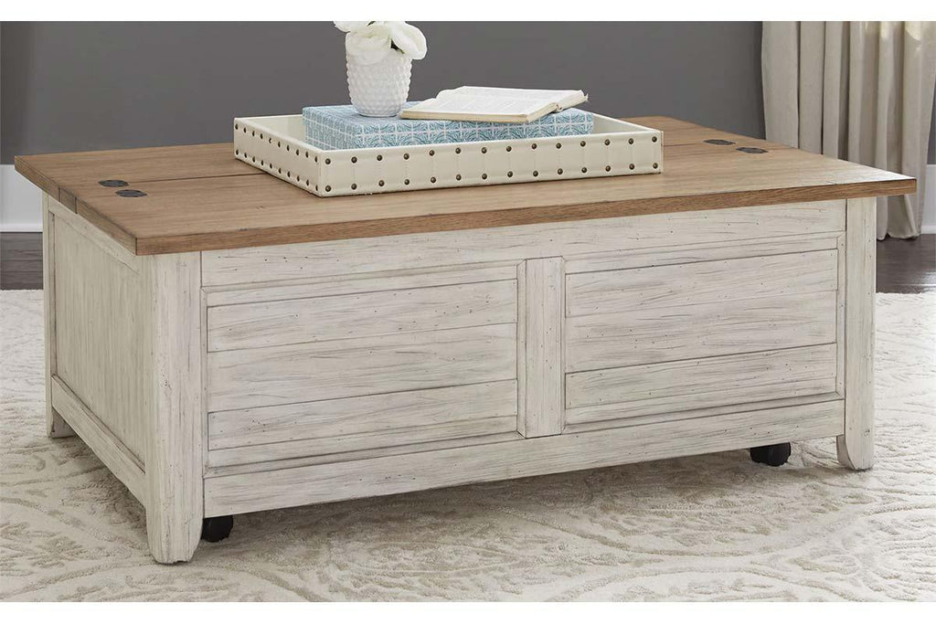 Aberdeen Distressed Antique White Cedar Lined Storage Coffee Table Wit
