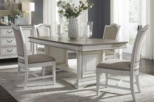 Adair 5 Piece Antique White Trestle Dining Table Set With Chenille Upholstered Side Chairs