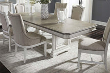 Adair 7 Piece Antique White Trestle Dining Table Set With Chenille Upholstered Chairs