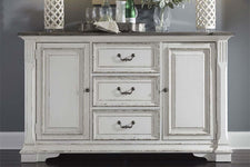 Adair Door Storage Dining Buffet With Antique White Finish And Rustic Brown Top