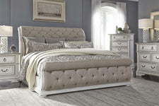 "Adair Queen Or King Tufted Chenille Sleigh Bed ""Create Your Own Bedroom"" Collection"