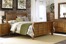 "Atkins Mission Style Queen Or King Wood Sleigh Bed ""Create Your Own Bedroom"" Collection"