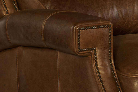 "Living Room Furniture Recliner Chairs Leather Alcott ""Quick Ship"" Unique Leather Bustle Back Recliner"