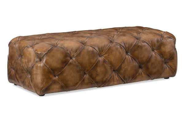 "Living Room Furniture Bench And Storage Ottomans Leather Alden ""Quick Ship"" Large Tufted Leather Rectangular Coffee Table"