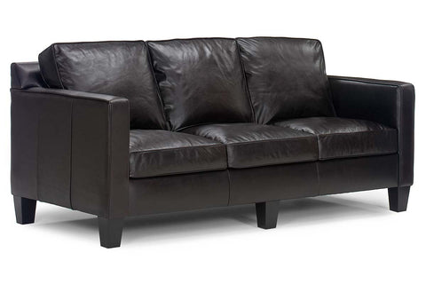 "Alex 76 Inch ""Designer Style"" Modern Apartment Size Leather Sofa w/ European Styling"