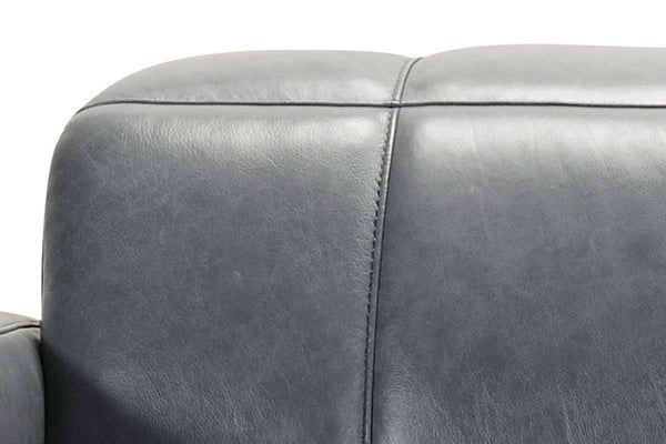 "Anders 105 Inch Blue Grey ""Quick Ship"" Power Leather Reclining Sofa With Power Headrest"