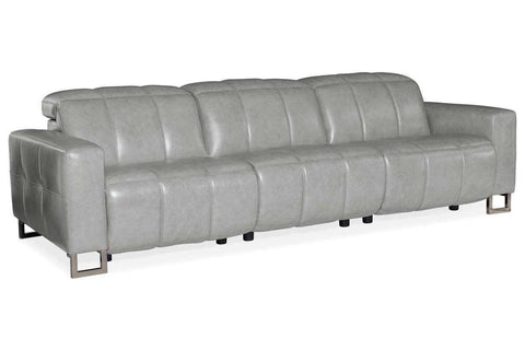 "Anders 105 Inch Silver Grey ""Quick Ship"" Power Leather Reclining Sofa With Power Headrest"