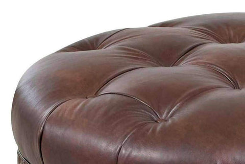 "Angelo ""Ready To Ship"" 37 Inch Round Leather Bench Ottoman"