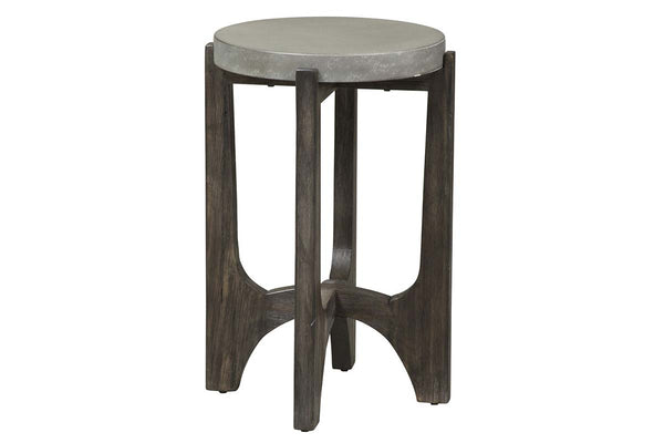 Anslow Contemporary Round Chair Side Table With Dark Wood Base And Concrete Composite Top