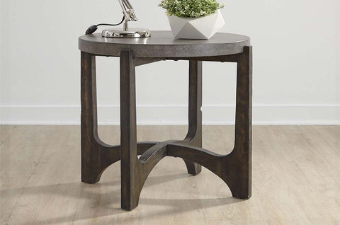 Anslow Contemporary Round End Table With Dark Wood Base And Concrete Composite Top