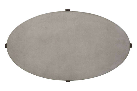 Anslow Oval Contemporary Coffee Table With Dark Wood Base And Concrete Composite Top