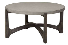Anslow Round Contemporary Coffee Table With Dark Wood Base And Concrete Composite Top