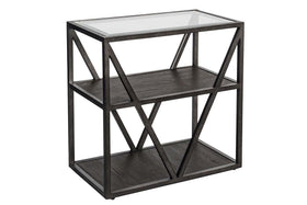 Archer Rectangular Metal Base Chair Side Table With Glass Top And Wood Shelves