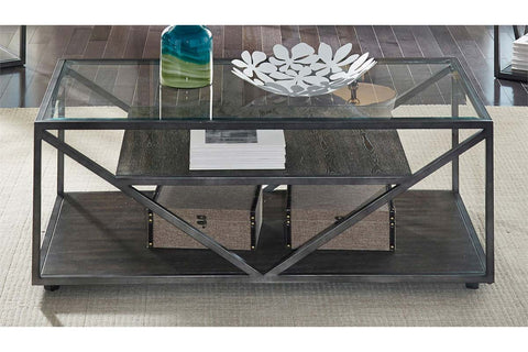 Archer Rectangular Metal Base Coffee Table With Glass Top And Wood Shelves