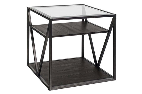Archer Rectangular Metal Base End Table With Glass Top And Wood Shelves