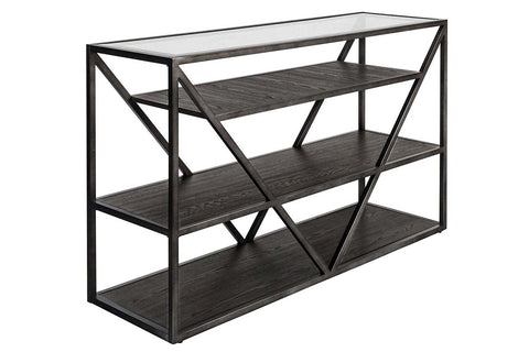 Archer Rectangular Metal Base Sofa Table With Glass Top And Wood Shelves