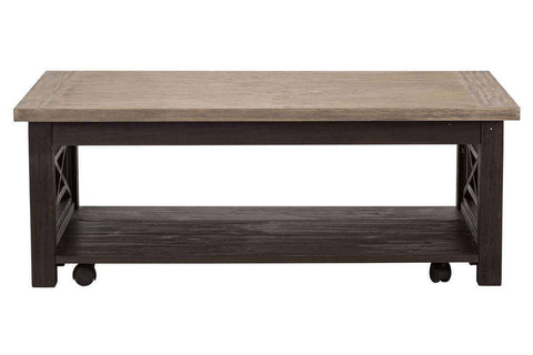 Ardley Rectangular Two Tone Dark Wood Base With Light Wood Top Coffee Table With Shelf