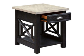 Ardley Transitional Single Drawer End Table With Charcoal Base And Two Tone Ash Top