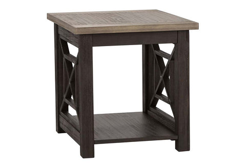 Ardley Transitional Open Storage End Table With Charcoal Base And Two Tone Ash Top