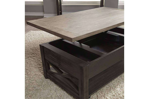 Ardley Transitional Lift Top Coffee Table With Charcoal Base And Two Tone Ash Top