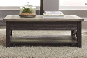 Ardley Lift Top Two Tone Dark Wood Base With Light Wood Top Coffee Table With Shelf