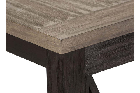 Ardley Transitional Open Storage Sofa Table With Charcoal Base And Two Tone Ash Top