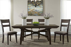 Atherton 5 Piece Dark Chestnut Trestle Table Dining Set With Splat Back Side Chairs