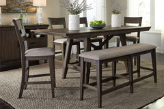 Atherton 6 Piece Counter Height Dark Chestnut Trestle Table Dining Set With Splat Back Side Chairs And Bench