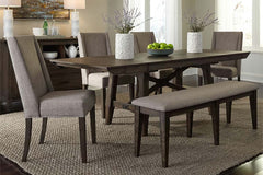 Atherton 6 Piece Dark Chestnut Trestle Table Dining Set With Upholstered Side Chairs And Bench
