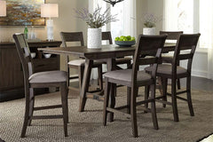 Atherton 7 Piece Counter Height Dark Chestnut Trestle Table Dining Set With Splat Back Side Chairs