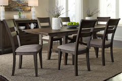 Atherton 7 Piece Dark Chestnut Trestle Table Dining Set With Splat Back Side Chairs