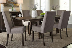 Atherton 7 Piece Dark Chestnut Trestle Table Dining Set With Upholstered Side Chairs
