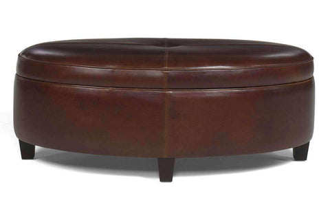 Avery Oval Leather Storage Coffee Table Ottoman - Club Furniture