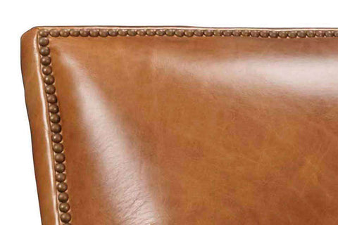 Baker Quick Ship Leather Tight Back Accent Chair- OUT OF STOCK UNTIL 3/05/20