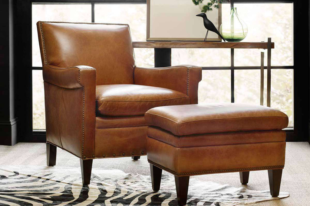 Awesome Baker Quick Ship Leather Tight Back Accent Chair Club Ibusinesslaw Wood Chair Design Ideas Ibusinesslaworg