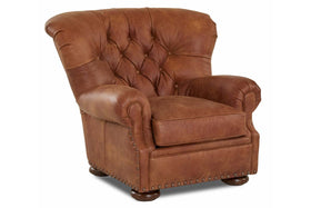 Banks Tufted Leather Club Chair w/ Decorative Nailhead Trim