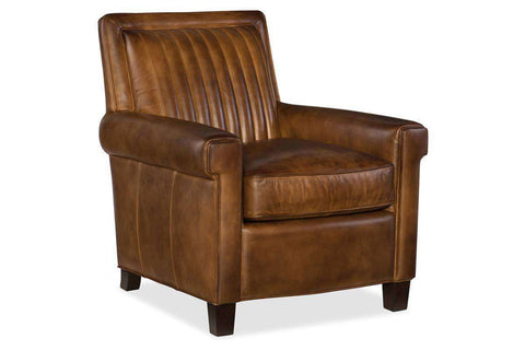 "Baringer Pawn ""Quick Ship"" Medium Brown Leather Channel Back Accent Chair"