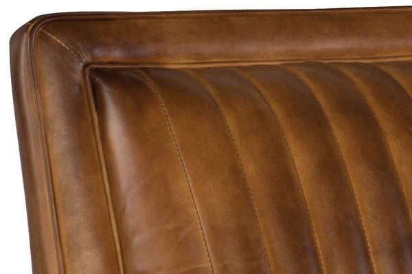 "Baringer Pawn ""Quick Ship"" Medium Brown Leather Channel Back Accent Chair - Club Furniture"