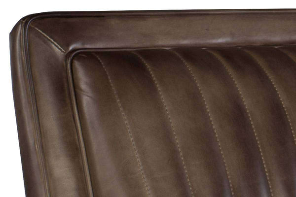"Baringer Trade ""Quick Ship"" Dark Leather Channel Back Accent Chair - Club Furniture"