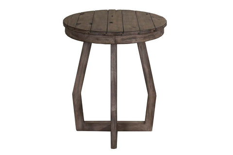 Barnes Transitional Round Chair Side Table With Gray Wash Finish And Plank Style Top