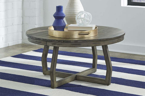 Barnes Round Transitional Coffee Table With Gray Wash Finish