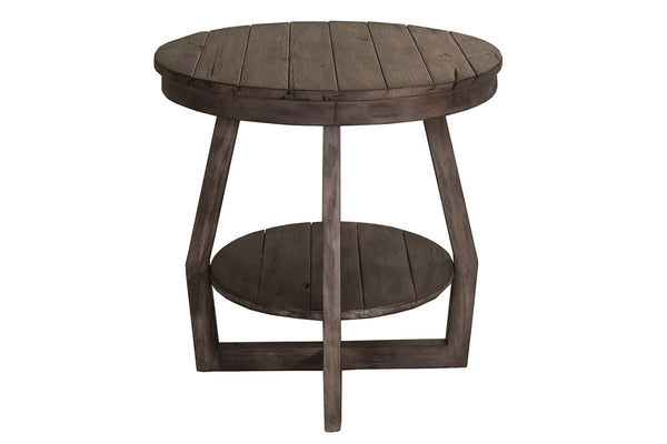 Barnes Transitional Round End Table With Gray Wash Finish And Plank Style Top