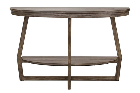 Barnes Transitional Round Sofa Table With Gray Wash Finish And Plank Style Top