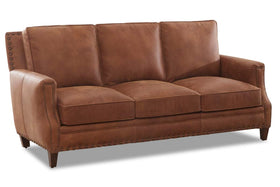 Barrett 80 Inch Apartment Size Three Seat Leather Sofa