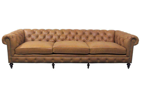 "Barrington 118 Inch ""Designer Style"" Large Leather Chesterfield Tufted Sofa"